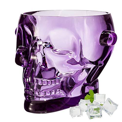 SYSP Cubo de Hielo acrílico, Cubo de Calavera para contenedor de Vino Helado, Cubo de Bebidas Transparentes con Asas, Cubo de Hielo de Cristal para Fiesta de Bar,Púrpura