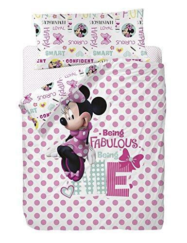 Disney Minnie Funda Nórdica 3 Piezas para Cama de 90, Algodón-Poliéster, Multicolor, Individual