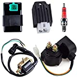 Solenoid Relay 2-Wire Ignition Coil 5 Pin CDI Box Regulator Rectifier Spark Plug for 4-Stroke 50cc 70cc 90cc 110cc 125cc ATV Dirt Bike Go Kart Compatible with Kazuma Taotao Coolster Parts