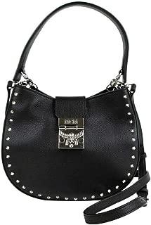 MCM Women's Trisha Black Leather Studded Small Crossbody Bag MWH8APA48BK001
