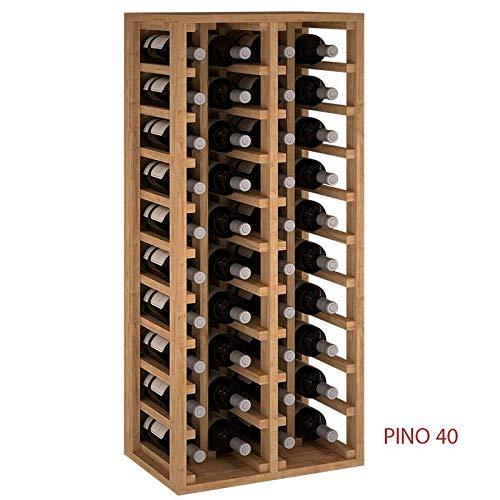ZonaWine - Botellero 4 columnas en Madera de Pino Pintada Blanco. Modulo para 40 Botellas de Vino 105x46x32 de Fondo