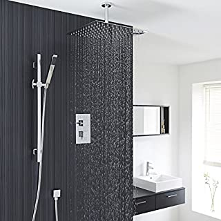 Hudson Reed Twin Concealed Shower System with Diverter, Square Ceiling Head, Slider Rail Kit and Handset In Chrome Finish