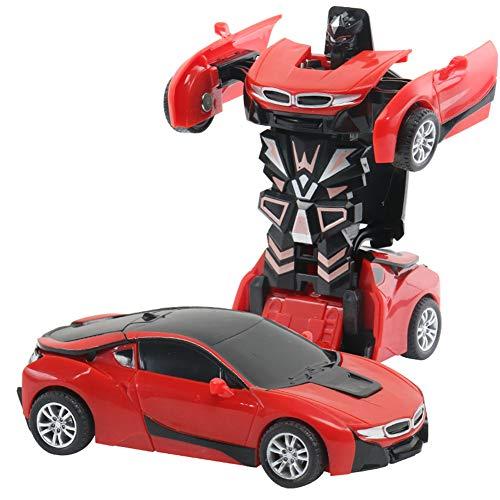 DishyKooker rc Spielzeug Auto EIN-Knopf-Deformations-Spielzeug-Kinderträgheits-Auswirkungs-Auto-Roboter Ferrari Blue