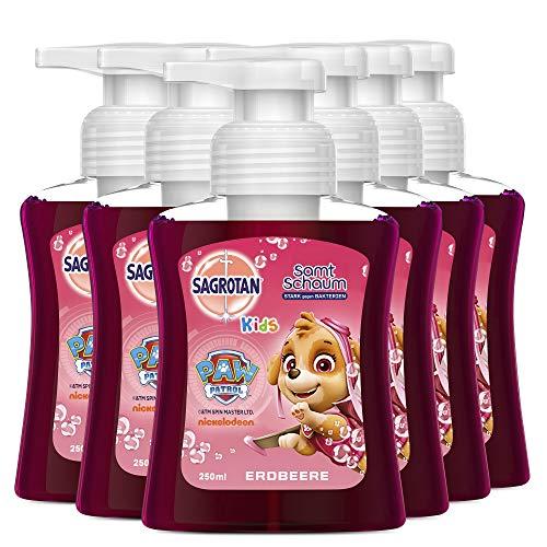 Sagrotan Kids Samt-Schaumseife Erdbeere – Paw Patrol Edition– Antibakterielle Schaumseife mit farbigem Schaum – 6 x 250 ml Seifenspender