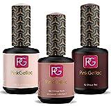 Pink Gellac Set 3 colores Esmaltes en Gel Semipermanente 15 ml para lámpara UV LED | 105 Blush Orange | 166 Vintage Nude Rosa | 112 Chique Red Rojo | Pintauñas Gellack (105-112-166)