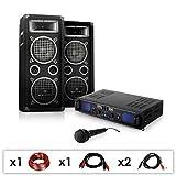 Set PA DJ-25 Amplificador con Pareja de Altavoces y micrófonos (1600W de Potencia, subwoofers de 20 cm, Equipo para Fiestas y Eventos)