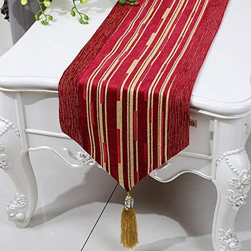 Drapeau de Table en Coton à Rayures Chenille, Drapeau de lit, Drapeau de Table Basse, Meuble de télévision, Tissu pour Couvre-Chaussures, Tissu rectangulaire(B; 33 * 200cm)