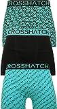 Crosshatch Mens Boxers Shorts Multipacked 3PK Underwear Gift Set 3 Pack Tresco [Aqua - Gleason - L]