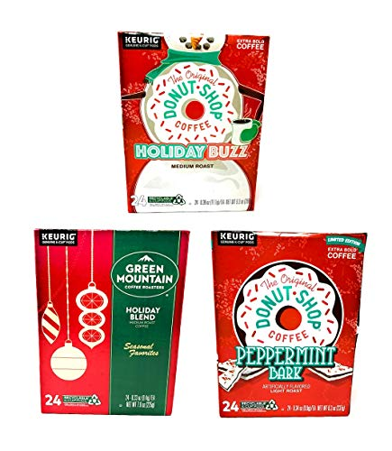 Green Mountain K Cups and The Original Donut Shop Seasonal Variety Pack - Holiday Buzz, Peppermint Bark, and Green Mountain Holiday Blend - Pack of 72 K Cups - 24 K Cups Per Flavor