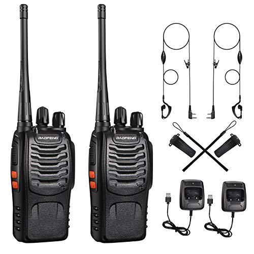 Walkie Talkies, Lizenzfrei PMR446 16 Kanäle 6 km Reichweite Funkgeräte, 1500 mAh Aufladbare Walkie Talkie, Sprechfunkgerät mit LED Taschenlampe & Headset (2 Stück)