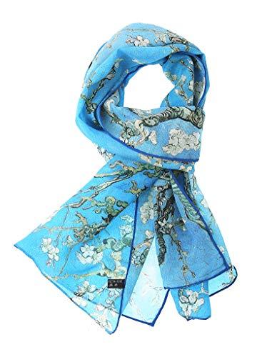 Salutto Women 100% Silk Scarves Van Gogh Paul Gauguin Monet Painted Scarf (24)