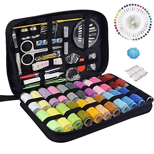 McNory Kit de costura con 176 piezas Accesorios de costura premium con funda de transporte,22 carretes de hilo-1 paquete de agujas de coser (cuenta 30) Kit de costura de viaje
