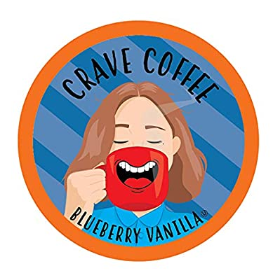 Crave Coffee Flavored Coffee Pods Compatible with 2.0 K-Cup Brewers, Blueberry Vanilla, 100 Count