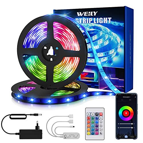 Tiras Led 15M, WEILY 15M RGB Tiras Led Multicolor Control Remoto Música Tiras Led Funciona con Alexa, Google Asistente y App para Decoración[Clase de eficiencia energética A++]