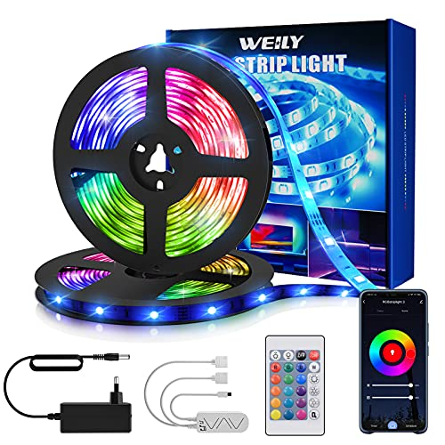 Tiras Led 15M, WEILY 15M RGB Tiras Led Multicolor Control Remoto Música Tiras Led Funciona con Alexa, Google Asistente y App...
