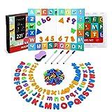 Magicfly 221pcs Lettres Alphabet Chiffre Magnétiques Tableau à Double Face et Pliable Puzzle Jouets d'apprentissage Préscolaire éducatifs Enfants Garçons Fille Aimants pour Réfrigérateur