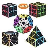 ROXENDA Speed Cube Set, [5 Pezzi] Magic Cube Set of 2x2 3x3 Piramide Megaminx Skew, Tornitura Facile & Gioco Regolare - Cubo Magico in Fibra di Carbonio