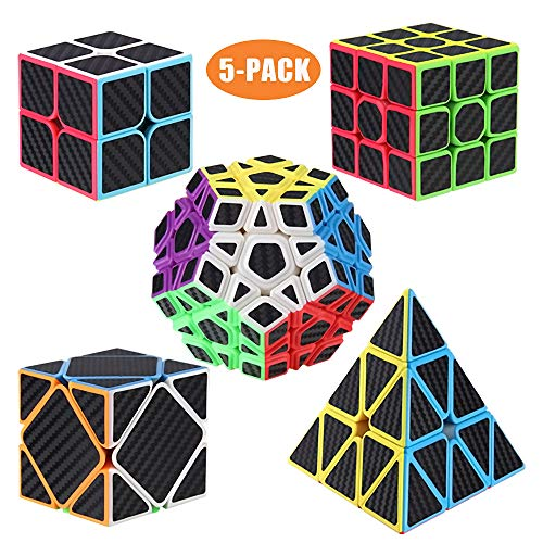 ROXENDA Cubos de Velocidad, [5 Pack] Speed Cube Set de 2x2 3x3 Pirámide Megaminx Skew Cube Pegatina de Fibra Carbono Magic Cube Colección Rompecabezas Juguete