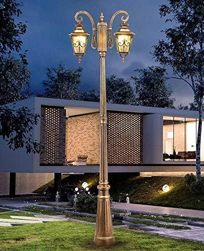 Doble la cabeza de cristal a prueba de agua Pilar linterna 1.75m Calle luz al aire libre Camino poste de la vendimia de la lámpara de aluminio del metal del césped Camino de jardín Iluminación