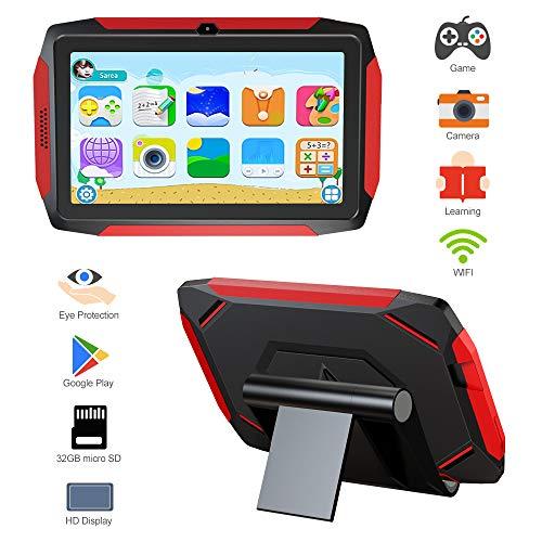Kindertablet, Kinder Edition Tablet 7 Zoll Android 9.0, 16 GB ROM, Kindersicherung, iWawa vorinstalliert, über 40 Lern und Trainingsspiele Apps, mit kindersicherem Etui und 32 GB Micro SD Karte