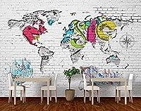 3D壁紙壁画リビングルーム寝室テレビ背景レンガ壁落書き世界地図背景壁紙壁用3D-400Cm×280Cm