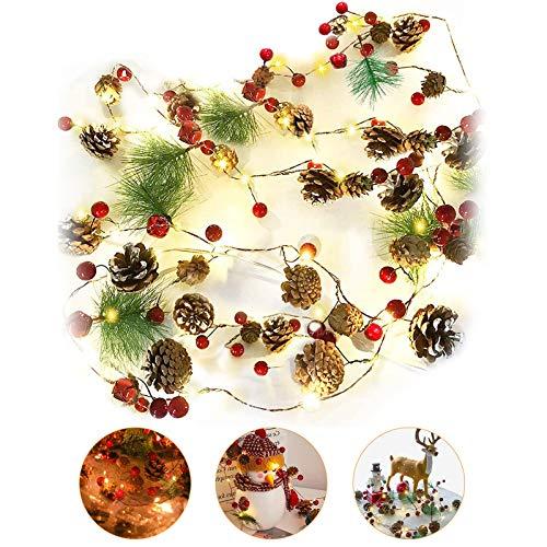 Luci di Stringa di Natale,Con pigna Campana di bacche rosse, Ghirlanda 2m 20LED bianco caldo Lampada decorativa per albero di Natale a batteria per decorazioni le vacanze di Natale