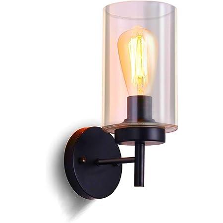 SISVIV Rétro Applique Murale Intérieur Vintage Lampe Murale Industriel Lampe de Mur Verre E27 pour Bar, Cuisine, Restaurant, Couloir, Salle de Bains Noir