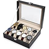Readaeer Glass Top 10 Watch Black Leather Box Case Display Organizer...