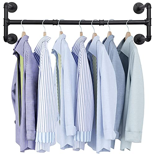 """OROPY Industrial Pipe Clothes Rack, Heavy Duty Detachable Wall Mounted Black Iron Garment Bar, Multi-purpose Hanging Rod for Closet Storage, 44.3"""" L × 12.2"""" W, Black (Four Base)"""