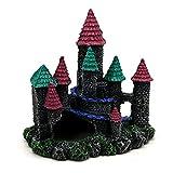 MOZHIXUE Decoración de castillo de acuario pintada a mano con detalles realistas sobre resina castillo decoración para pecera, cueva de castillo para escondite de peces, A