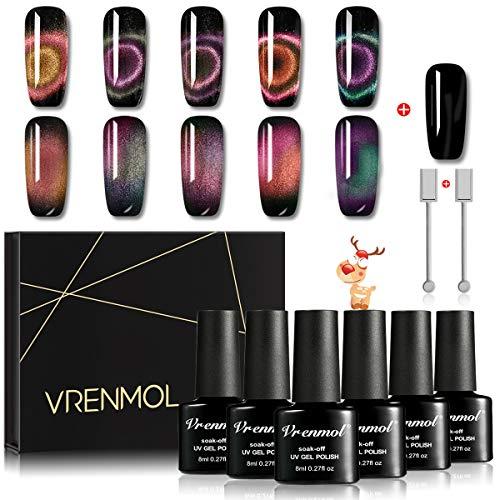 Vrenmol Magnetic 9D Cat Eye Nail Gel Polish Chameleon UV LED Shining Set Nail Art Kit 5Colors+1Black Color 8ml + 2Free Magnet Stick …
