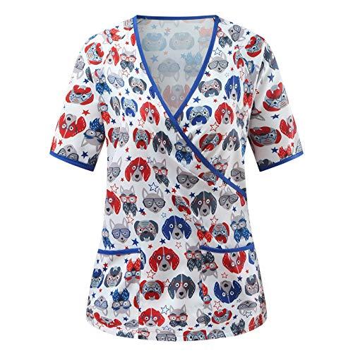 Pflege Arbeitskleidung Kasacks Kasacks Damen Pflege Bunt große größen Uniformen Schlupfkasack Berufsbekleidung Schlupfhemd Uniform  Motiv Kindergärten Pflegeheime Welpen Drucken Krankenhaus