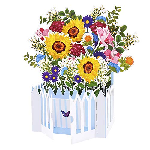 Oritouchpop Foral Garden Pop Up Card, Happy Birthday Card, Spring Flower 3D Card for Anniversary, Valentines Day, Mother's Day, Father's Day, Thinking of You, Get Well Soon, Best Gift for Her or Him