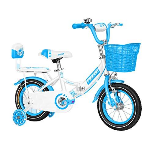 Bicicleta Niños AGYH Bicicleta Infantil Plegable, Altura del Asiento del Manillar Ajustable, con Ruedas Auxiliares, 12/14/16/18 Pulgadas, Tres Colores Opcionales (Color : Blue, Size : 90x65cm)