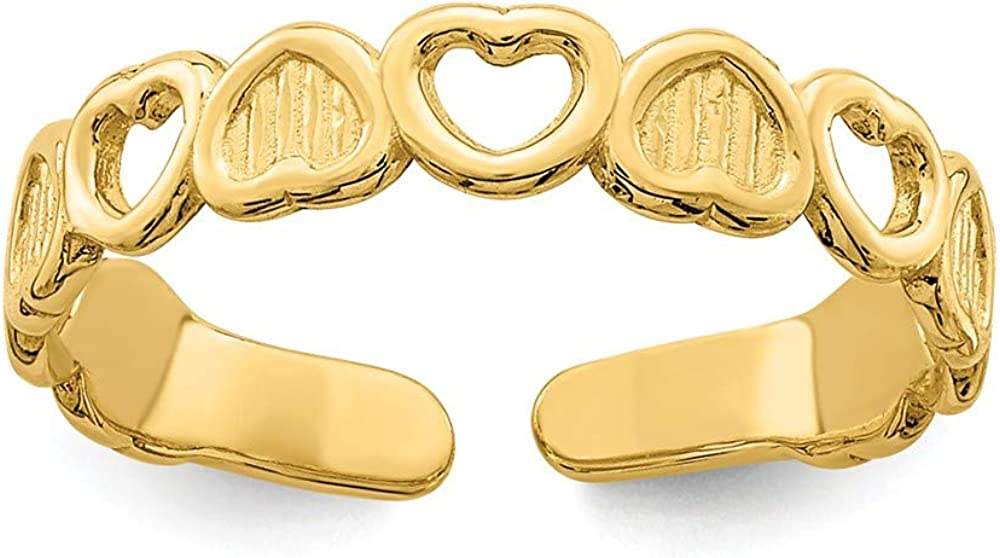 14K Yellow Gold Adjustable Heart Toe Ring