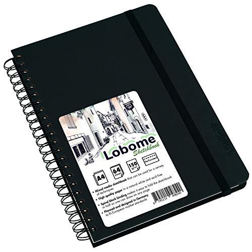 Lobome Skizzenblock A4 | 64 Doppelseiten mit 150gsm Weißem Papier und Spiralbindung
