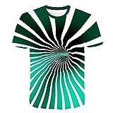 Camiseta Hombre 3D Camisetas de Manga Corta Divertidas Camiseta de Moda para Hombre, impresión en túnel Espacial M