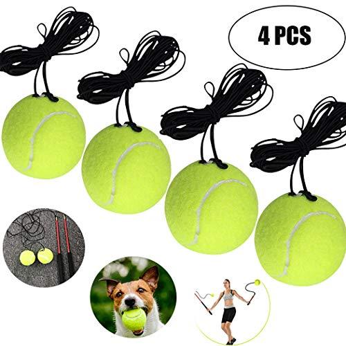 Fansport 4PCS Tennis Trainingsball Selbstlern Übung Tennisball mit Schnur für Tennis Trainer Tennisball für Einzelübungen