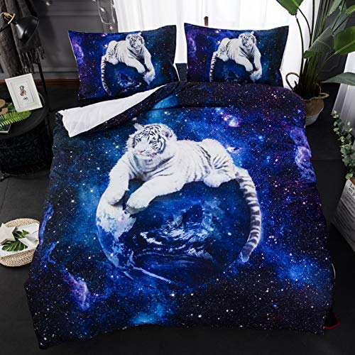USTIDE Tiger with Space 3D Printed Reversible Duvet Cover Set Non Toxic Quilt Cover with Pillowcase Double Size