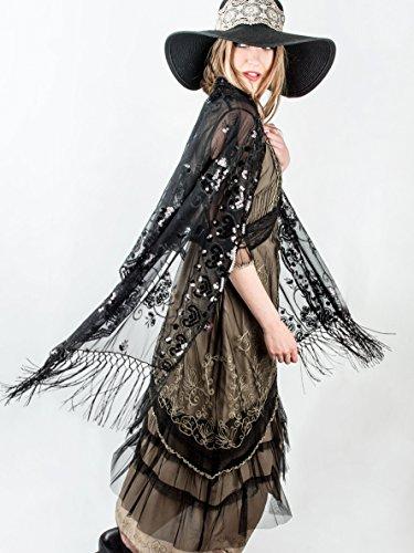 Bohomonde Madison Shawl, Long Fringe Sequin Evening Wrap