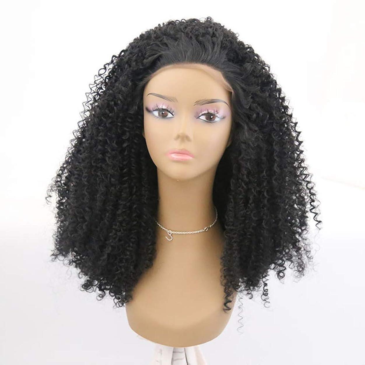 廃棄するお嬢悪化させる女性かつらブラジルの人間の髪の毛短い巻き毛の部分レースフロントかつら赤ん坊の髪の漂白された結び目プレプレックヘアライン180%密度黒
