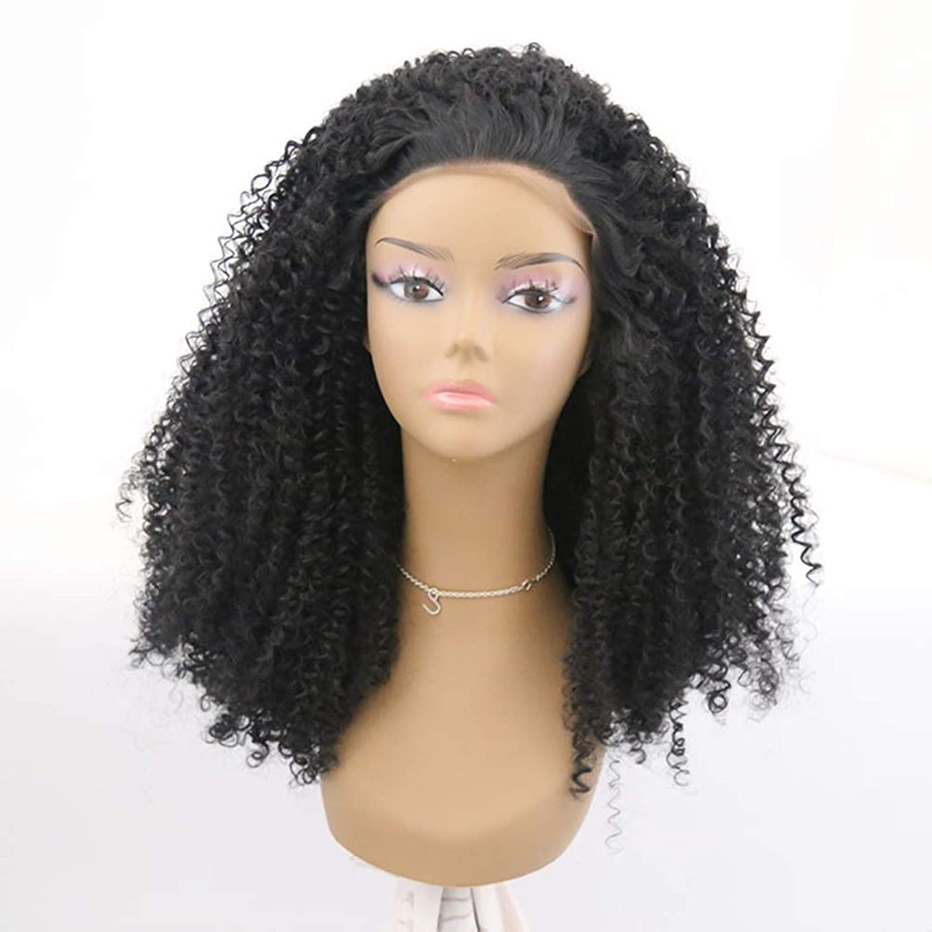 エネルギー旅客ボーカル女性かつらブラジルの人間の髪の毛短い巻き毛の部分レースフロントかつら赤ん坊の髪の漂白された結び目プレプレックヘアライン180%密度黒