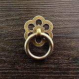Perilla Redonda de Hardware Sólido Lotes / 10pcs flor decorativa base en forma de gota anillo de tiro de tiradores Herrajes Para Gabinetes de Cocina ( Color : Bronze(with screw) , tamaño : 4.4x3.2cm )
