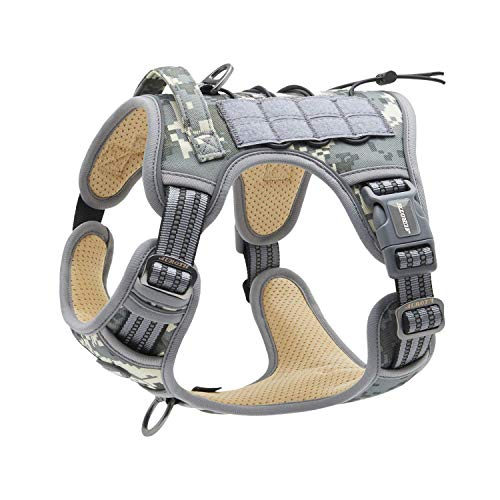 Auroth Tactical Dog Training Harness No Pulling Front Clip Leash Adhesion Reflective K9 Pet Working Vest Easy Control for Small Medium Large Dogs Grey Camo M