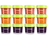 Glass Baby Food Storage Containers, BPA-Free Airtight Leak-Proof Baby Food Jars with Labels, Set of...
