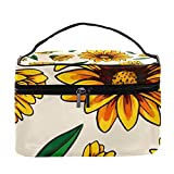 Blooming - Bolsa de maquillaje con diseño de girasoles para viajes, bolsa de maquillaje, organizador de maquillaje, con cremallera, para mujeres y niñas