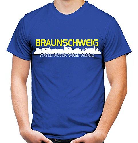 Braunschweig Skyline Männer und Herren T-Shirt | Fussball Ultras Geschenk (M, Blau)