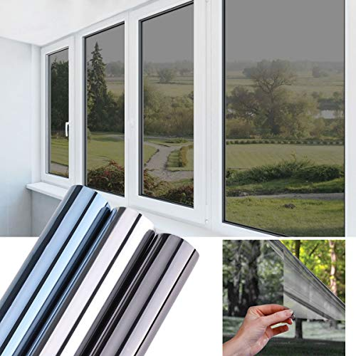 Glasfolie selbstklebend Fensterfolie One-Way Hitzeschutzfolie 90X200CM Sonnenschutzfolie Spiegelfolie reflektierende Selbstklebefolie Glasfolie UV-Schutz Folie Sichtschutz Wärmeisolierung Schwarzgrau