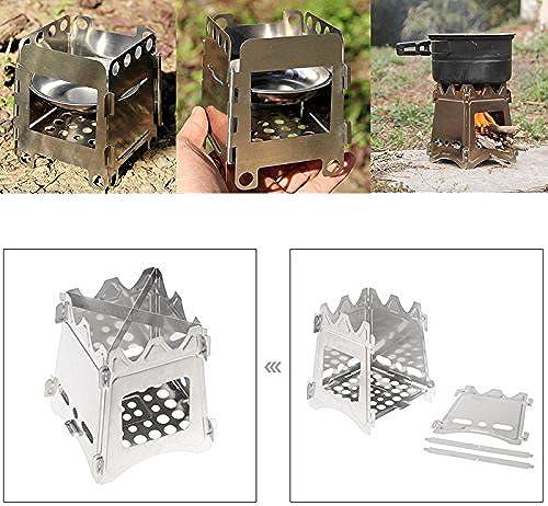 LaDicha Portatif Bois Pliant Poêle Extérieur Compact Camping Poêle Pique-Nic Randonnée Matériel De Cuisson