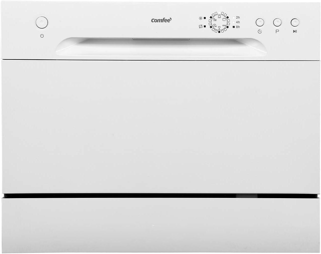 Comfee CTG 556N Lavavajillas de mesa, pequeño lavavajillas, preelección de inicio, espacio para 6 platos a medida, 6 programas de lavado, 61 kWh/100 ciclos, 1820 l/año, color blanco